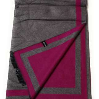 Grey & Pink 2-Tone 100% Cashmere Scarf Unisex