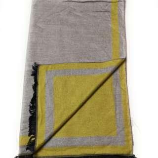 Grey & Yellow 2-Tone 100% Cashmere Scarf Unisex
