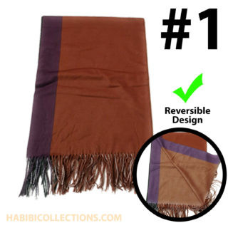 100% Cashmere Scarf for Women Reversible Bordered Shawl Wrap Stole Long Scarves