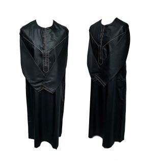 Size 54 Emaratee Men's Black Long Sleeve Thobe {Nusuki}