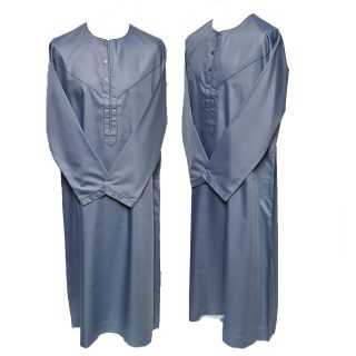 Size 54 Emaratee Men's Blue Long Sleeve Thobe {Nusuki}