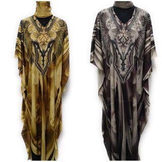Women's Kaftan Sequin No-Belt Floral - 2 Colours