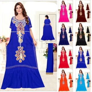 Women Moroccan High Quality Indian Cotton Embroidered Floral Kaftan Tunic Dress
