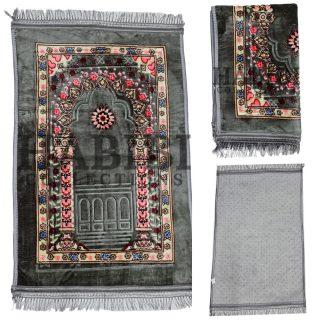 Islamic Prayer Mat Floral Padded Rug Janamaz Musalla New Large Non-Slip 1000g