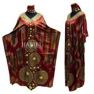 Women's Red/Gold Sequin Kaftan Free Size Geometric Swirl Pattern